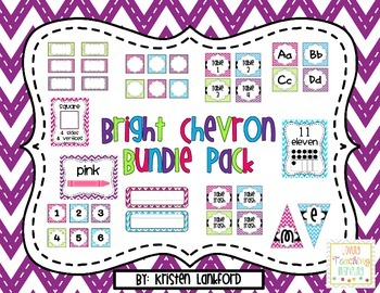 Bright Chevron Classroom Decoration Bundle