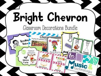 Bright Chevron Classroom Decorations Bundle