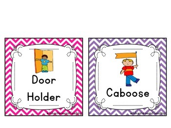 Bright Chevron Classroom Jobs / Helpers Cards {66 different jobs}