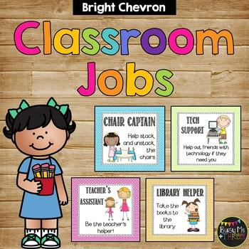 Bright Chevron Themed Classroom Jobs for Elementary