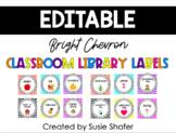 Bright Chevron Classroom Library Labels (EDITABLE)