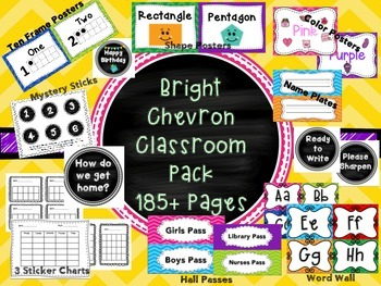 Bright Chevron Classroom Pack OVER 185+ PAGES