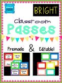 Bright Chevron Classroom Passes *Editable