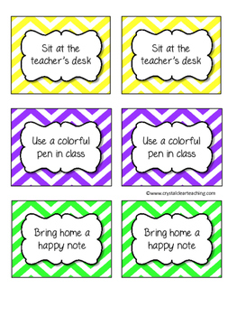 Bright Chevron Classroom Reward Coupons