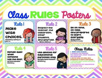 Bright Chevron Classroom Rules Posters
