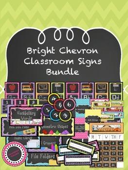 Bright Chevron Classroom Sign Bundle