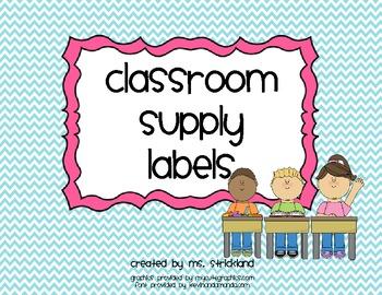 Bright Chevron Classroom Supply Labels