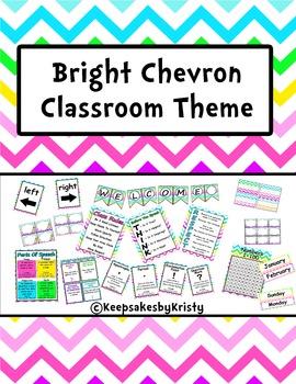 Bright Chevron Classroom Theme Decor