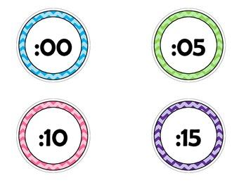 Bright Chevron Clock Labels