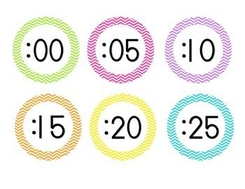 Bright Chevron Clock Numbers
