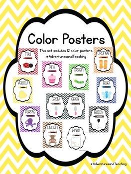 Bright Chevron Color Posters Set