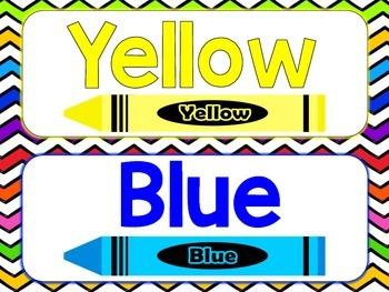 Bright Chevron Color Word Cards