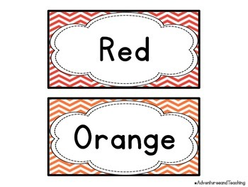 Chevron Color Word Cards