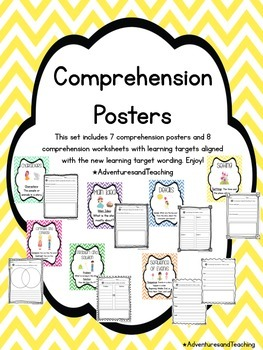Bright Chevron Comprehension Posters and Comprehension Worksheets Bundle
