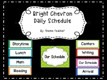 Bright Chevron Daily Schedule Cards