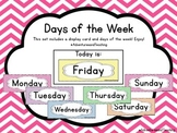 Bright Chevron Days of the Week Calendar Cards