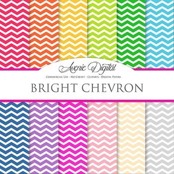 Bright Chevron Digital Paper patterns bright block colors scrapbook background