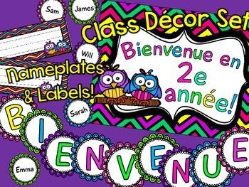 {Bright Chevron Class Decor!} Affiches de Bienvenue pour la salle de classe