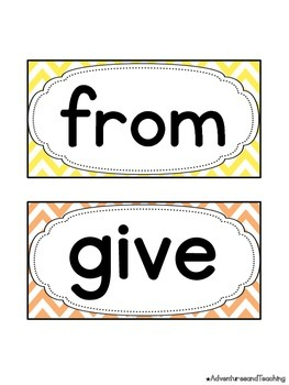 Bright Chevron First Grade Sight Words Word Wall Words