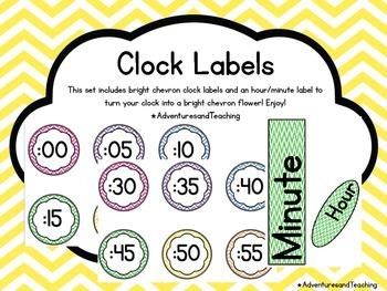 Bright Chevron Flower Clock Labels