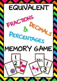 Bright Chevron Fractions, Decimals & Percentages Memory Game