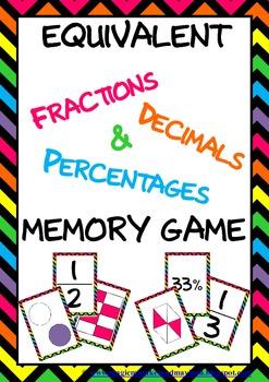 Bright Chevron Fractions, Decimals & Percentages Memory Game