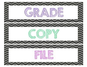 Bright Chevron Grade, Copy, Laminate, and File Sterilite Lables