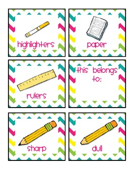Bright Chevron Labels for the Classroom