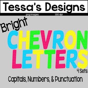 Bright Chevron Letters Clip Art