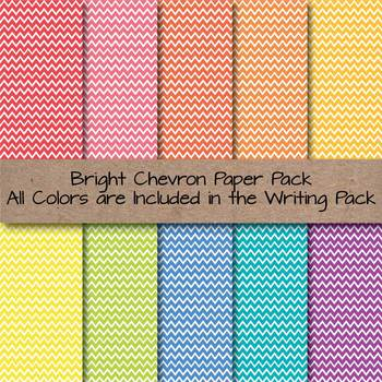 Bright Chevron Lined Writing Paper for Writers Workshop, Bulletins & More