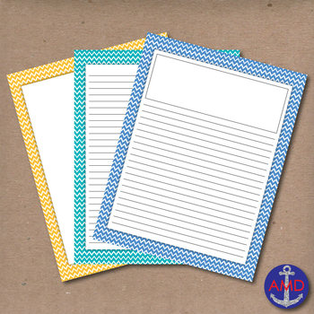 Bright Chevron Lined Writing Paper for Writers Workshop, B