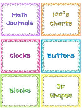 Chevron Math Manipulative Labels