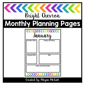 Bright Chevron Monthly Planning Pages