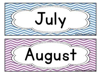 Bright Chevron Months Calendar Cards