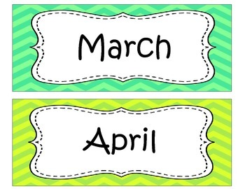 Bright Chevron Months of the Year