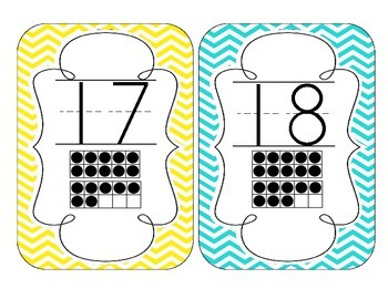 Bright Chevron Number Cards 1-20