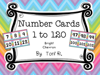 Bright Chevron Number Squares - For Number Lines and Charts