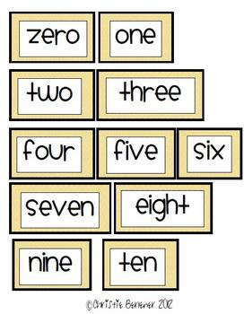 Bright Chevron Number Words for Word Wall