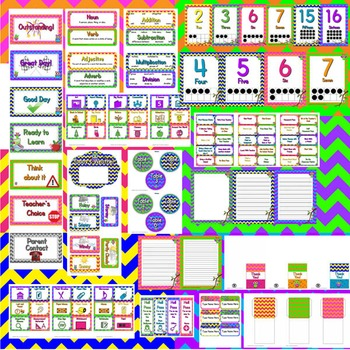 Chevron Classroom Theme Decor / Organization - Mega Bundle (Editable!) -  Owl