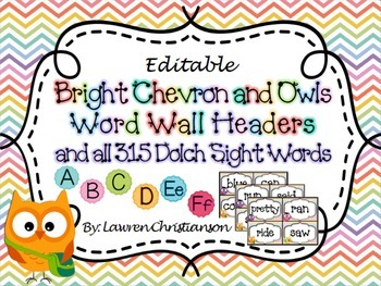 Bright Chevron & Owl Word Wall Headers and ALL 315 Dolch Sight Words (Editable)