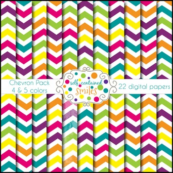 Bright Chevron Papers- Four and Five Colors