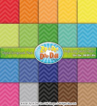 Bright Chevron Pattern Digital Scrapbook Pack — Basic Bund