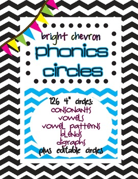 Bright Chevron Phonics Circles {editable}