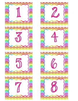 Bright Chevron & Polka-Dot Calendar Numbers
