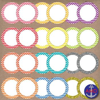 Bright Chevron Clip Art Post-its, Labels and Notecards