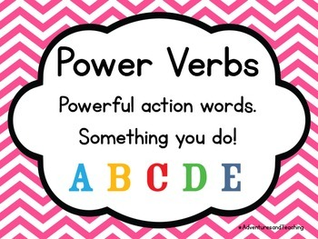 Bright Chevron Power Verbs Learning Target and Objective Posters