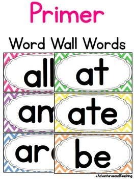 Bright Chevron Primer Sight Words Word Wall