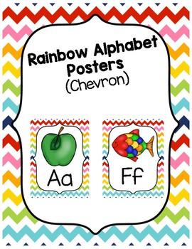 Bright Chevron Rainbow Alphabet Posters