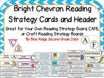 Bright Chevron Reading Strategy Cards - Your Own Strategy Board, Cafe, or Craft