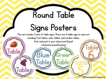 Bright Chevron Round Table Signs